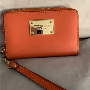 Orange Michael Kors Wrist Wallet